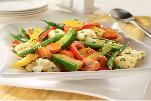 steamed vegetables with herbs